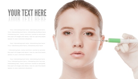 Cosmetic botox injection in the female face. Eye and eyebrow zone. Isolated on white Stock Photo - 16763752