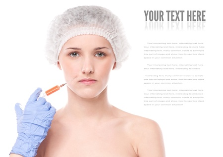 Cosmetic botox injection in the female face. Lips and cheek zone. Isolated on white Stock Photo - 16763729