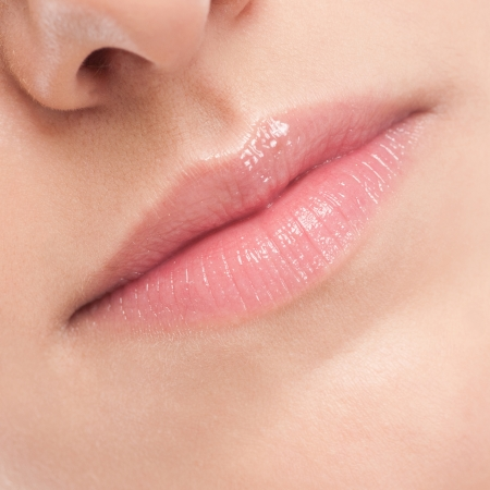 Close-up face of beauty young woman - lips make-up zone Stock Photo - 18440246