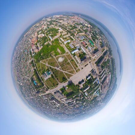 Aerial city view spherical mode Stock Photo - 18386653