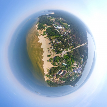 Aerial city view spherical mode Stock Photo - 18386652