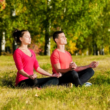 Young man and woman woman doing yoga in the sunny summer park Stock Photo - 19083725