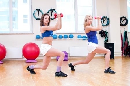 Two smiling women do stretching exercise in sports club. Fitness gym Stock Photo - 19083718