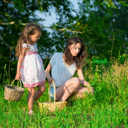 Harvests of berries and mushrooms - lovely girls with the basket of ecological harvests photo