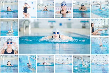 sport woman: Collage of young sport woman swimming in the indoor pool