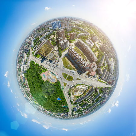 Aerial city view. Urban landscape. Copter shot. Panoramic image. 스톡 콘텐츠