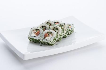 Japanese food restaurant, sushi maki gunkan roll plate or platter set. Sushi set and composition