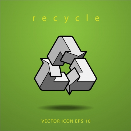 impossible figure recycle icon on green background Vector