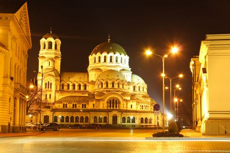 The center of Sofia, Bulgaria by night with Aleksander Nevsky Cathedral - one of the symbols of this charming country. Wanna now more about it? Visit http:en.wikipedia.orgwikiAlexander_Nevsky_Cathedral%2C_Sofia Stock Photo