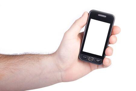 Mano con touch screen telefono isolata on white