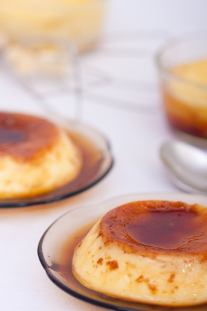 Flan: Sweet custard with a caramel topping. Pudding. Vanilla flavour. Crème caramel, known as