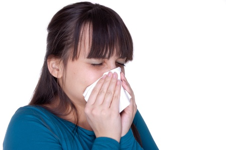 Sick woman with tissue on white Stock Photo