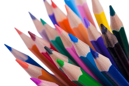 Pencils with rainbow colours. Artistic selective focus.