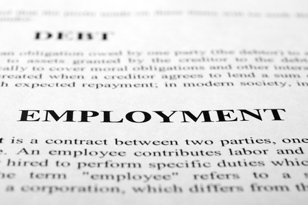 The word employment shot with artistic selective focus. Stock Photo