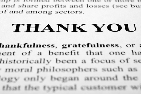 The words thank you shot with artistic selective focus.
