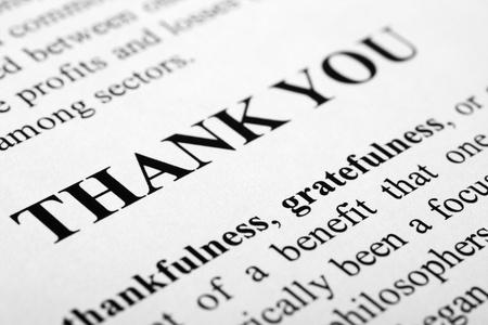 dank u: De woorden dank je wel geschoten met artistieke selectieve aandacht.