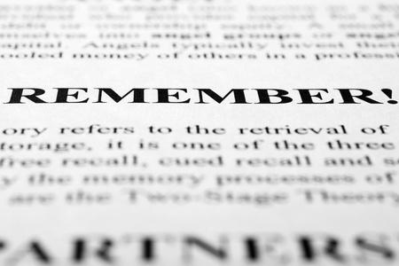 times new roman: La palabra Recuerdo que dispar� con enfoque selectivo art�stica. Foto de archivo