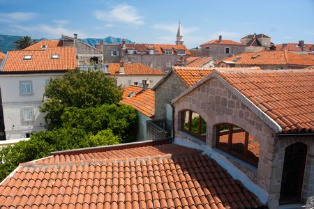 Rooftops in the old town of Budva, Montenegro Stock Photo