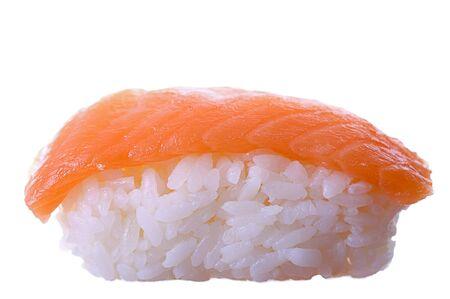 Sushi singola su bianco. Artistico messa a fuoco selettiva. Archivio Fotografico