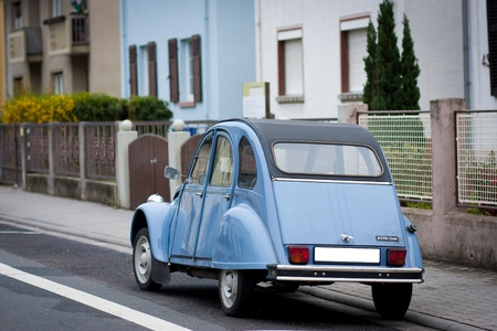 French blue Citroen 2 cv parked on a street. Stock Photo