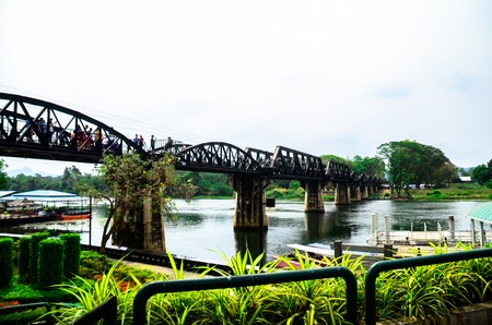 Iron bridge is a landmark (Landmarks and Memorials in Thailand), and the most important is the virtual symbol of Kanchanaburi (Kanchanaburi visit) at the same time. 스톡 콘텐츠 - 102011711