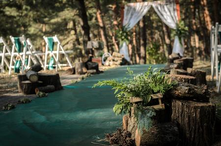 feier: Hochzeitszeremonie im Wald zwischen den Bäumen auf der grünen Spur Lizenzfreie Bilder
