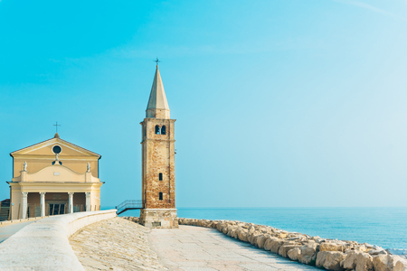 Church of Our Lady of the Angel on the beach of Caorle Italy, Santuario della Madonna dell'Angelo 스톡 콘텐츠
