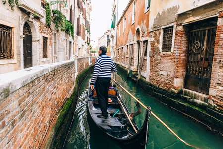 narrow streets and canals of Venice Italy