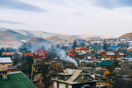 Carpathian village at the foot of the Carpathian Mountains