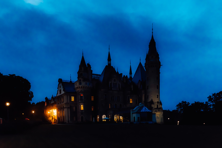 old Polish castle in the village of moszna in the night lights Editorial