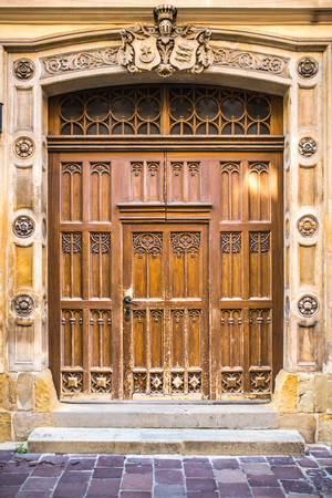 old vintage wooden with metal door of classical europe Stock Photo