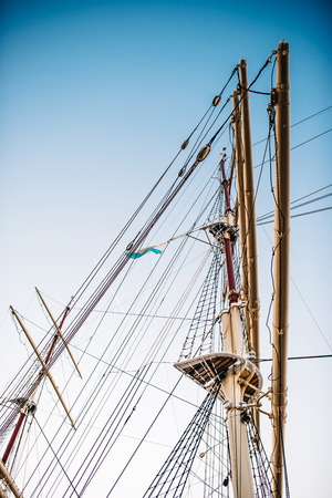 old sailing ship, frigate at anchor in the port of Gdynia, Poland