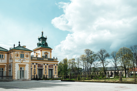Old antique palace in Warsaw Wilanow, with park architecture