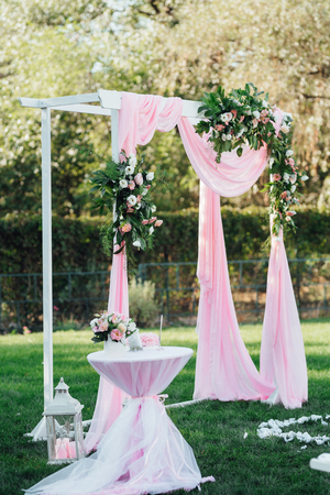 wedding ceremony area, arch chairs decor
