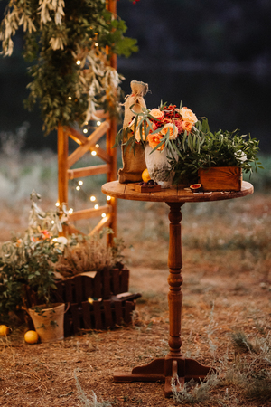 wedding decor with natural elements Stock Photo