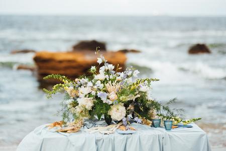 wedding ceremony area on the sandy beach near the ocean
