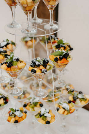 wedding glasses for wine and champagne from clear crystal Stock Photo