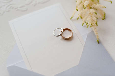 wedding rings with a wedding decoration
