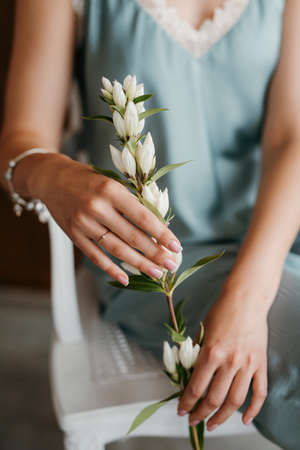 girl bride in a gray dress holding a green twig in her hands