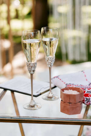 wedding glasses for wine and champagne from crystal Stock Photo