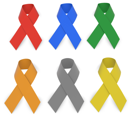 straight pin: Multiple Awareness Ribbons Isolated On White With Clipping Path