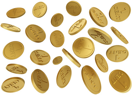 chaotically: Chaotically flying gold coins