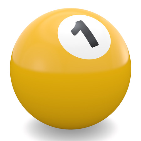 pool ball: Yellow pool ball with white