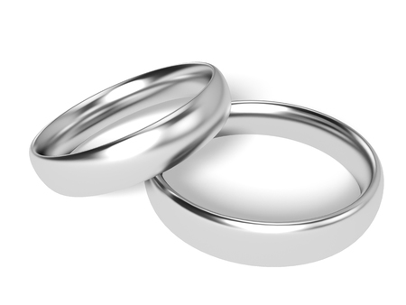 engagement ring: Two Rings - Platinum or Silver Isolated on white background