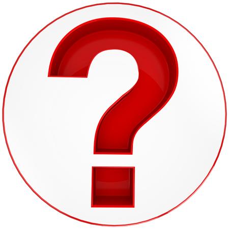 punto interrogativo: Rosso Punto interrogativo isolato su sfondo bianco