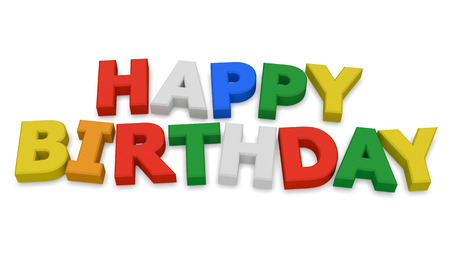text word: Happy birthday 3d render isolated