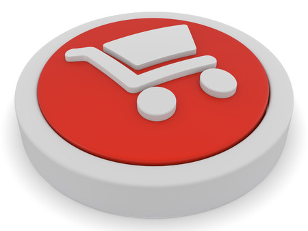 internet store: shopping button icon 3d render
