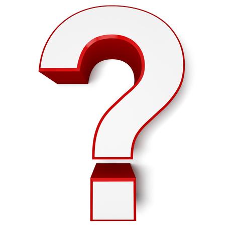 signo pregunta: Signo de interrogación rojo aislado en fondo blanco