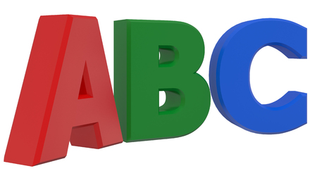 letter b: ABC 3d word isolated on white background Stock Photo
