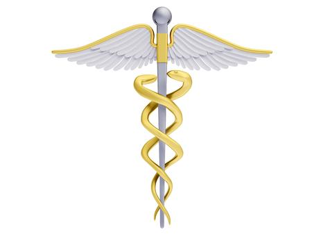 caduceus symbol: Caduceus symbol of medicine isolated on white background
